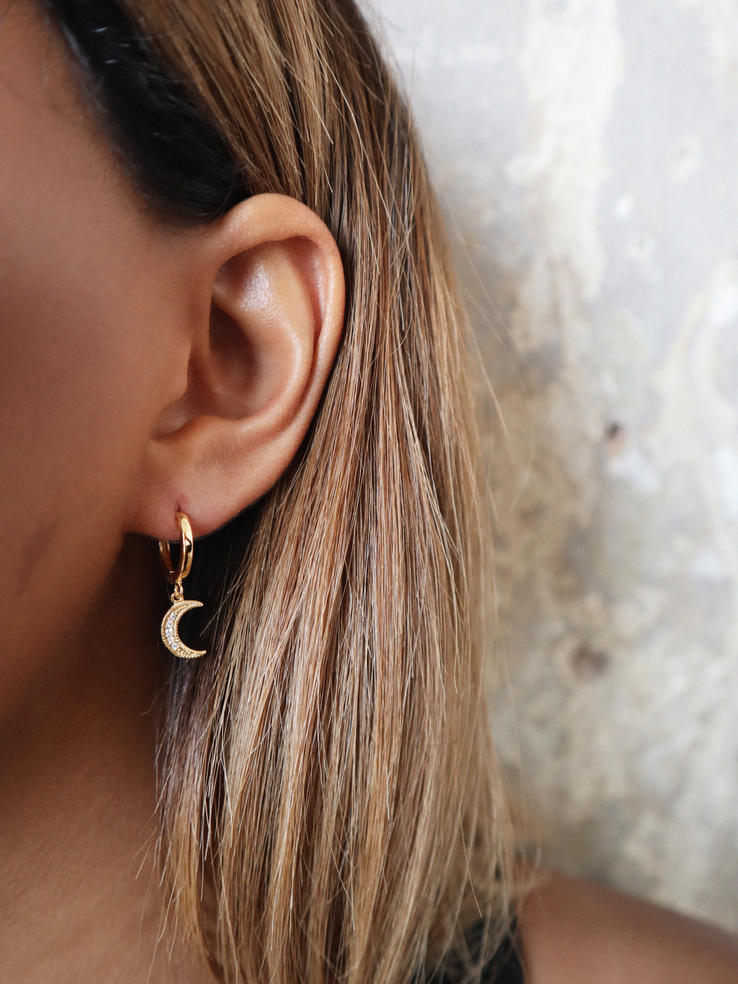 Clear Moon Chaser Hoops