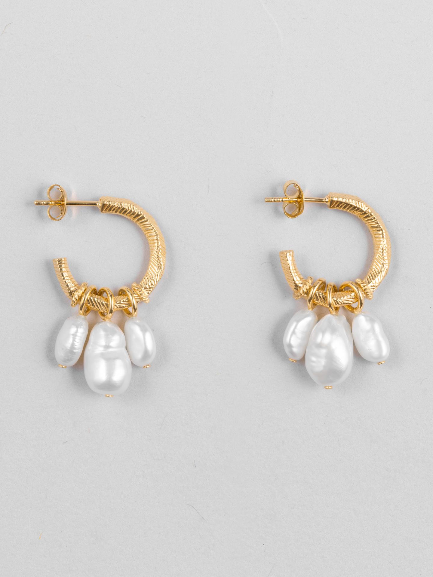 Triple Freshwater Earrings