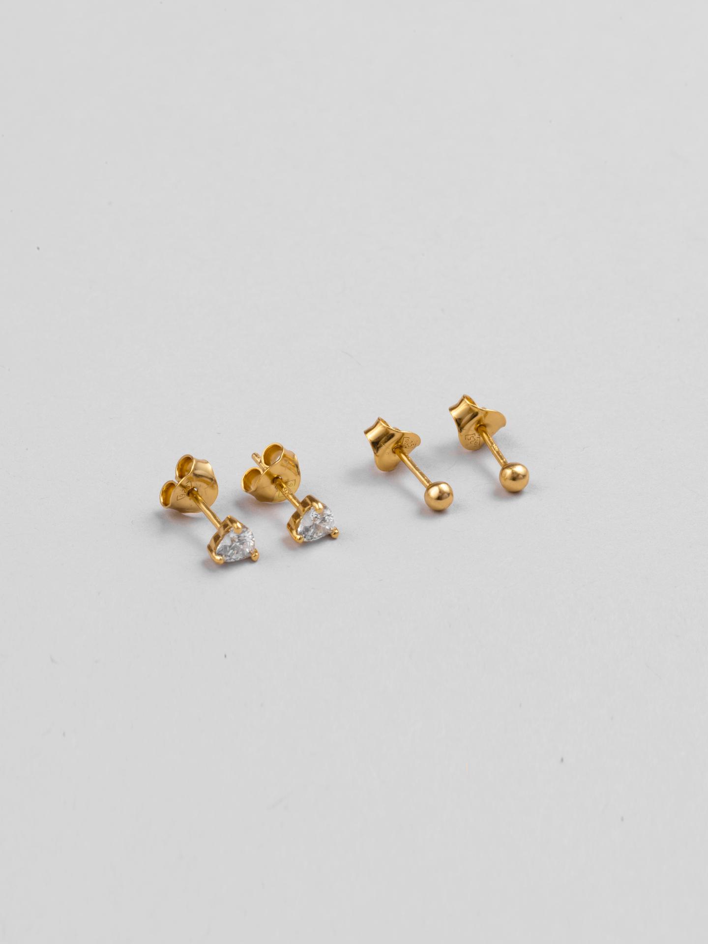 Multipack Diamond Heart Earrings