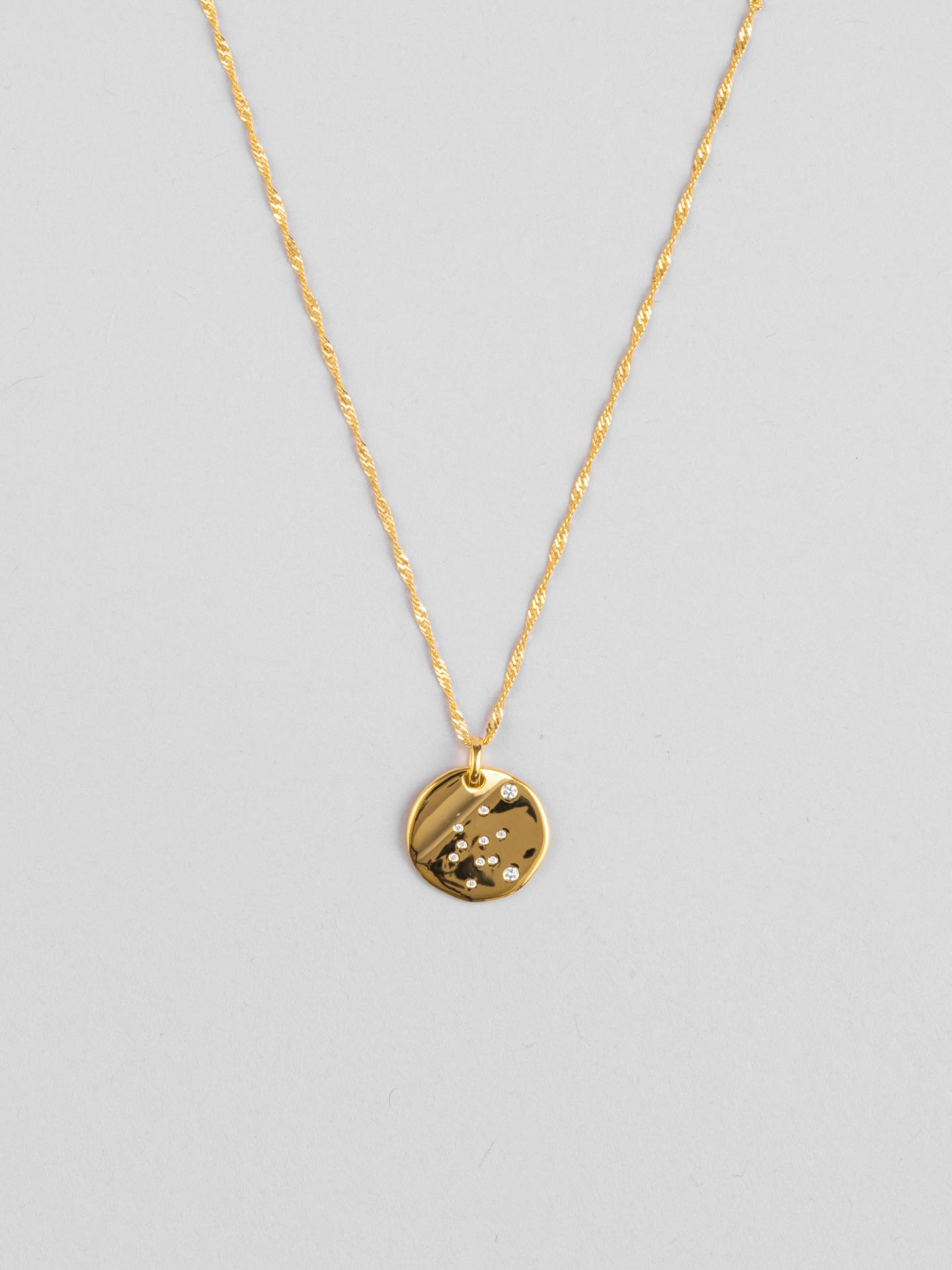 Aquarius Zodiac Disc Necklace