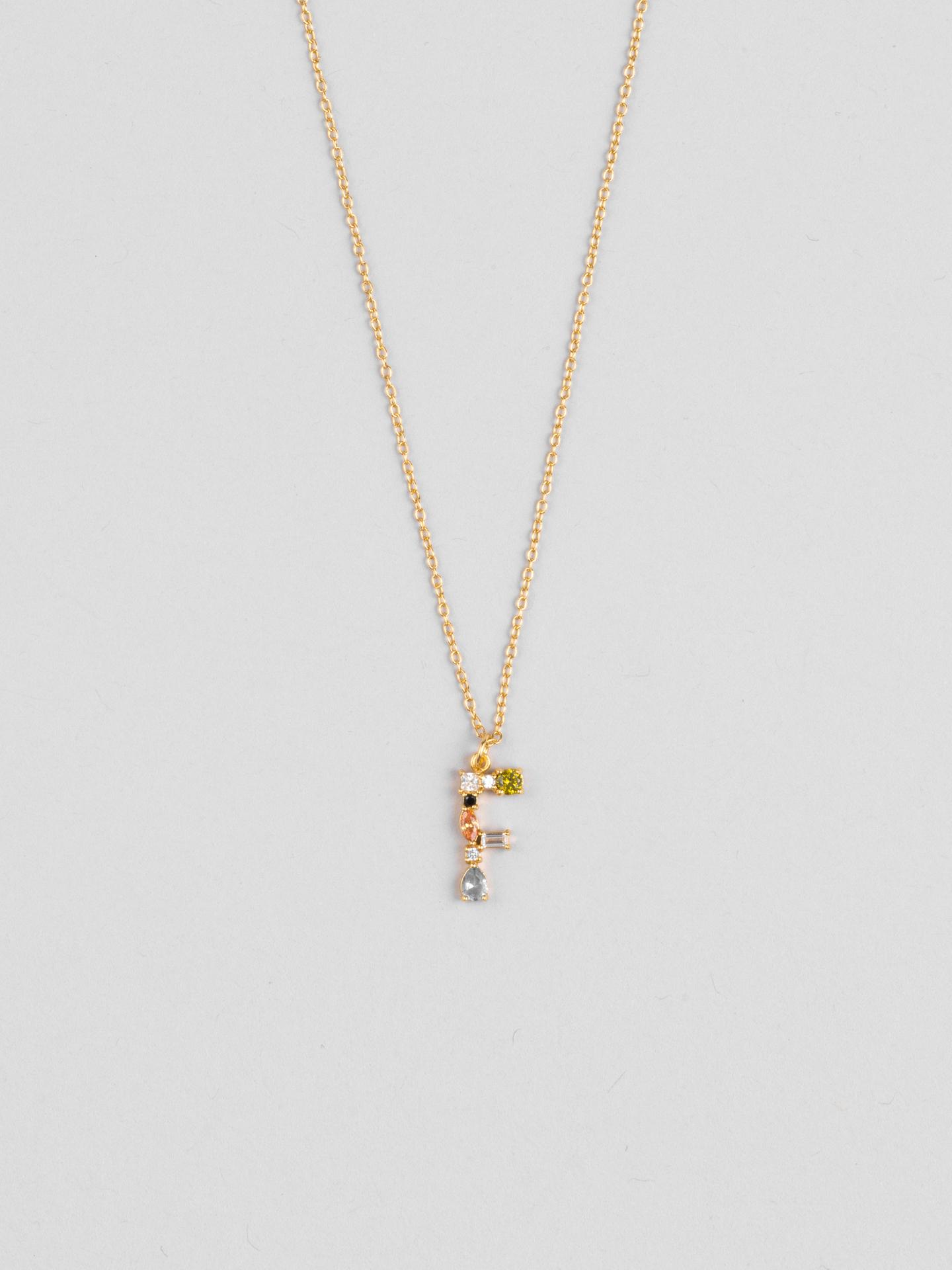 Cluster Letter F Necklace