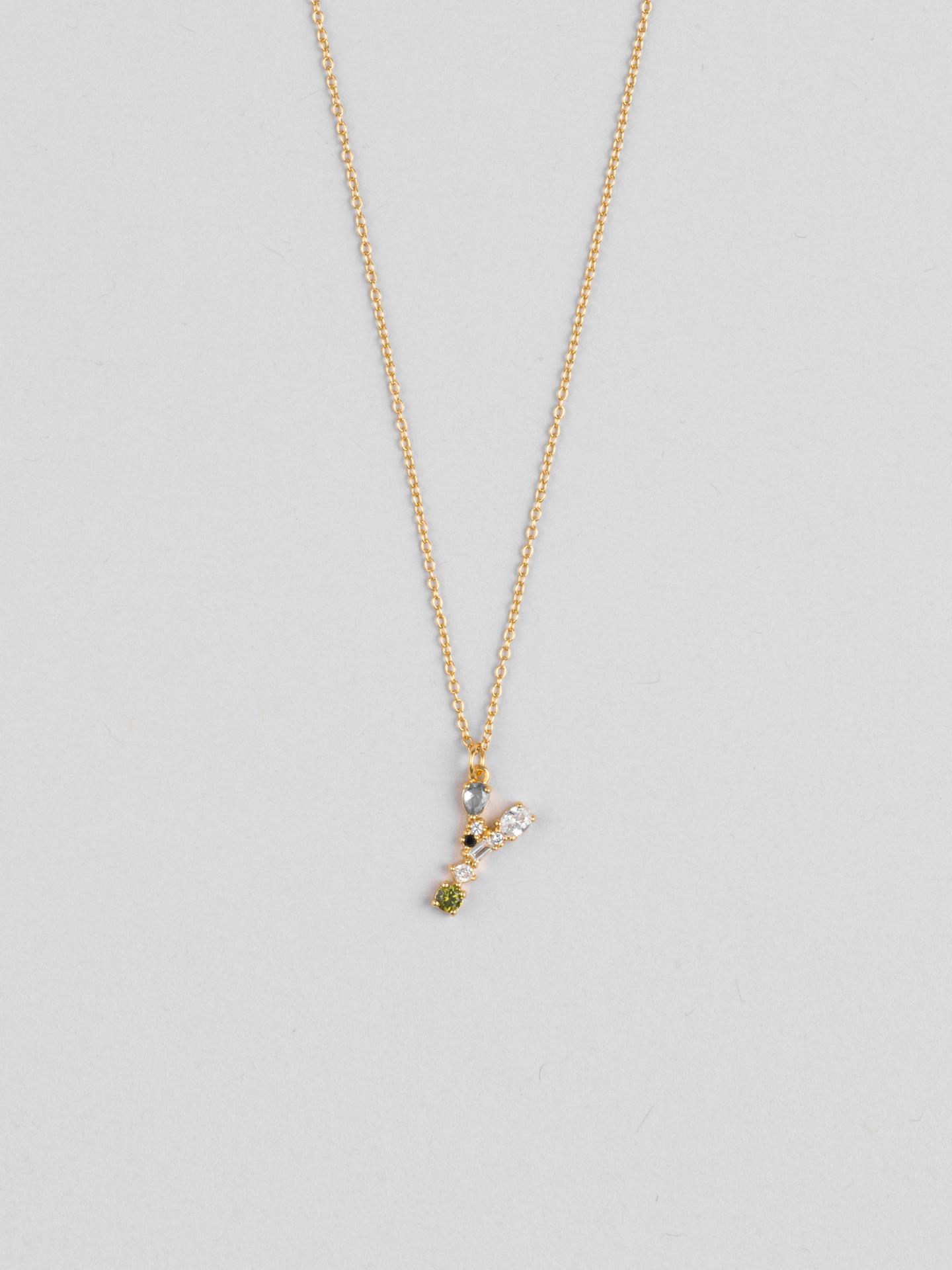 Cluster Letter Y Necklace